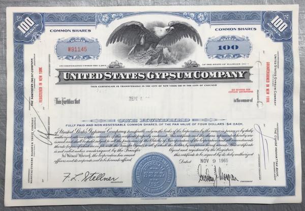 100x United States Gypsum Company (100 Shares) 1960er