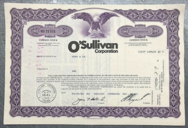 100x O'Sullivan Corporation (diverse Shares) 1980er