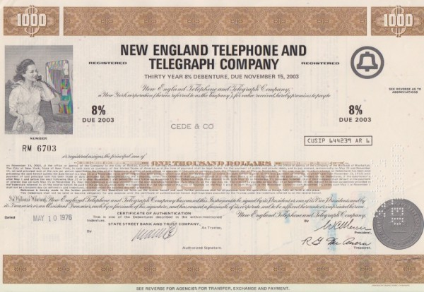 8x New England Telephone & Telegraph Company