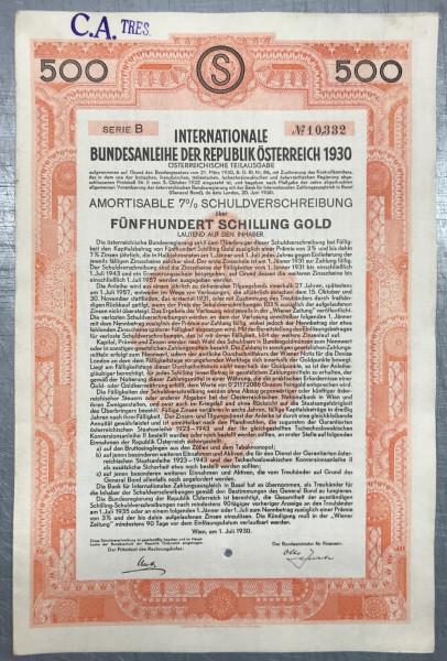 20x Bundesanleihe Österreich - 500 Schilling GOLD - 1930