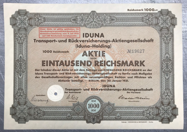 25x IDUNA-Holding - 1000 Reichsmark - 1931