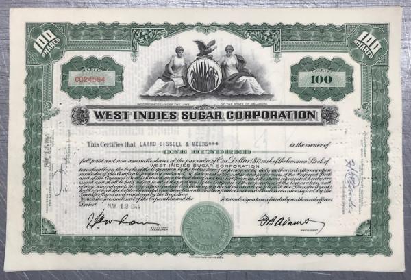 100x West Indies Sugar Corporation (100 Shares) 1940er