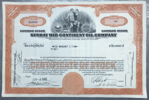 100x Sunray Mid-Continent Oil Company (<100 Shares) 1950er