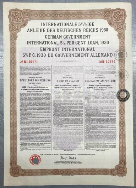 20x Deutsches Reich 1930 - 2.500 Belgische Franken - Young Anleihe