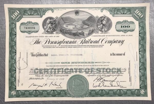 100x Pennsylvania Railroad Company (100 Shares) 1960er