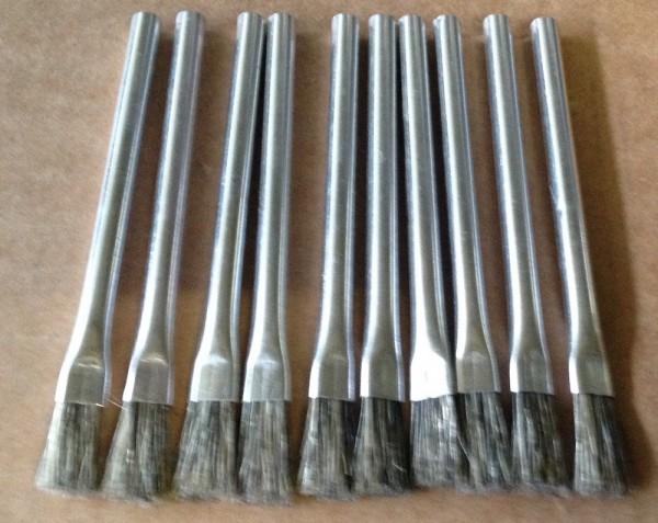 10 Stück Lötwasserpinsel mit Blechschaft und Naturborsten