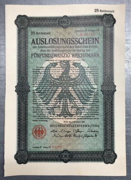 25x Deutsches Reich 1926 - 25 Reichsmark - Auslosungsschein