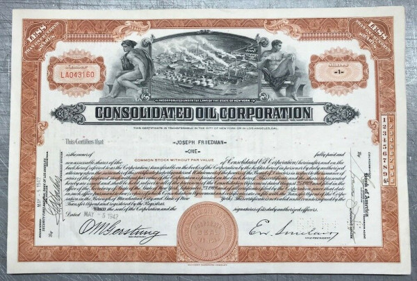 100x Consolidated Oil Corporation (<100 Shares) 1940er