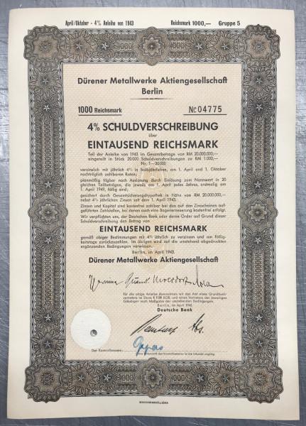 25x Dürener Metallwerke - 1000 Reichsmark - 1943