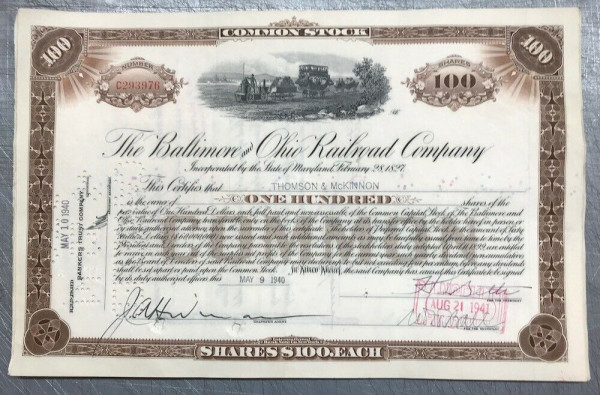 100x Baltimore & Ohio Railroad (100 Shares) 1940er