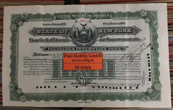 50x Palisades Interstate Park $1.000 Issue 1911