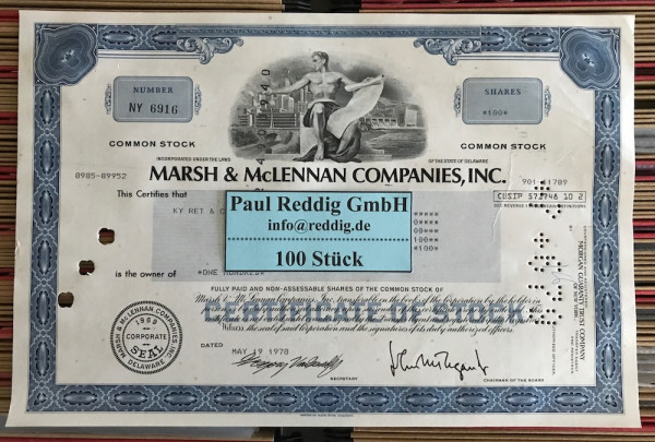 100x Marsh & McLennan Companies Inc. (diverse Shares) 1980er