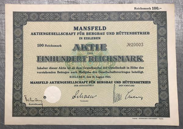 20x Mansfeld Aktiengesellschaft - 100 Reichsmark - 1933