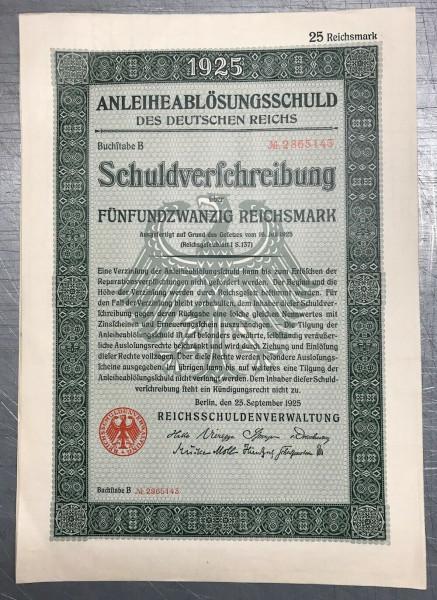25x Deutsches Reich 1925 - 25 Reichsmark - Anleiheablösungsschuld