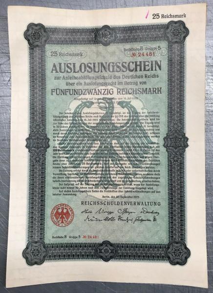 25x Deutsches Reich 1925 - 25 Reichsmark - Auslosungsschein