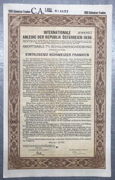 20x Int. Anleihe Österreich - 1000 Schweizer Franken - 1930
