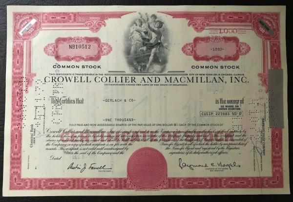 100x Crowell Collier & MacMillan Inc. (>100 Shares) 1970er