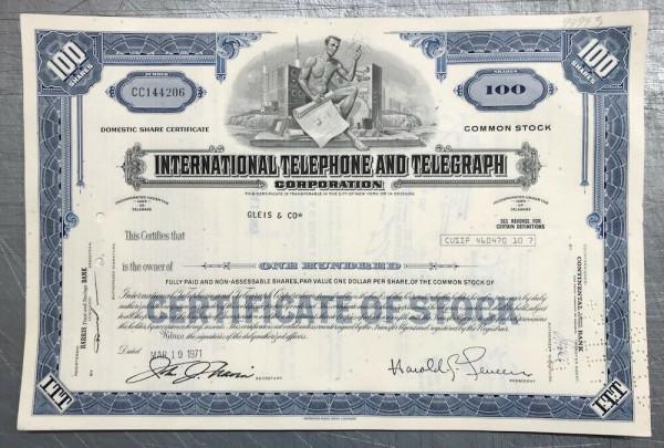 100x International Telephone & Telegraph (100 Shares) 1970er
