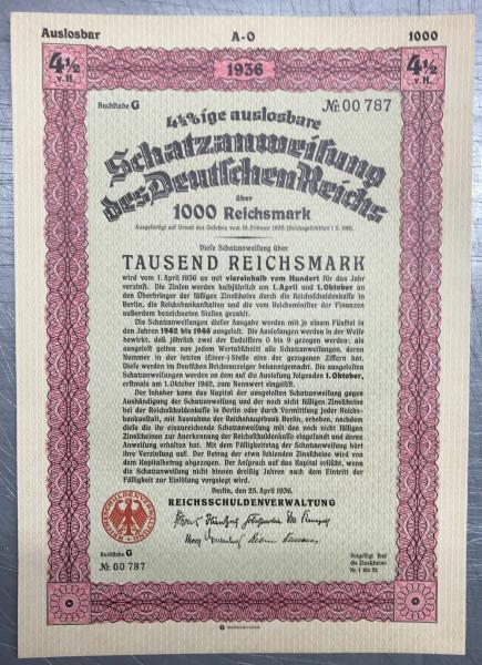 25x Deutsches Reich 1936 - 1000 Reichsmark - Schatzanweisung