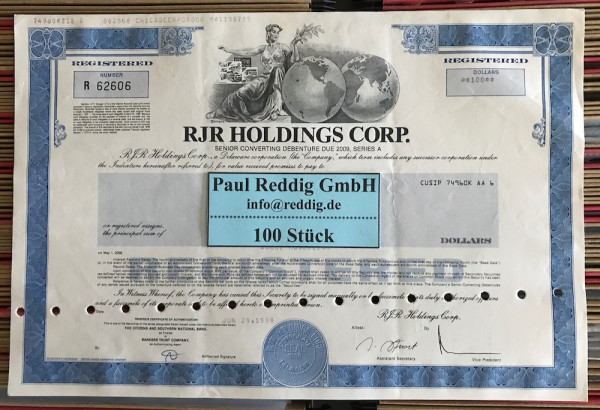 100x RJR Holdings Corp. (diverse Dollar) 1980er
