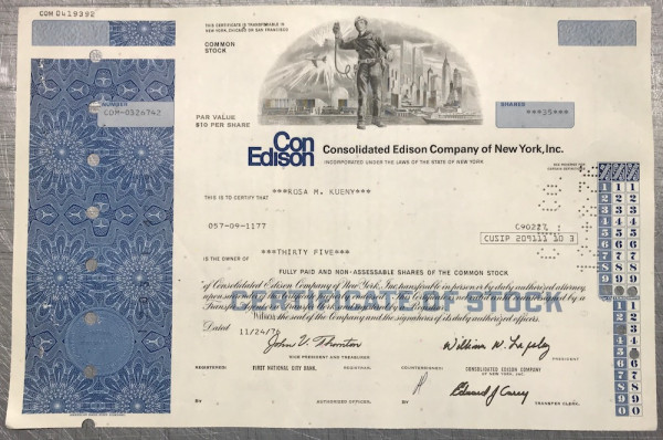 100x Consolidated Edison Company (diverse Shares) 1970er