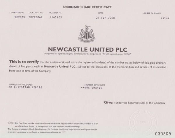 5x Newcastle United Plc.