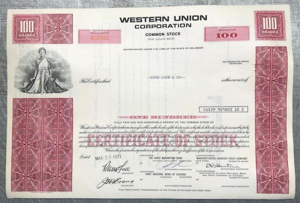 100x Western Union Corporation (100 Shares) 1970er