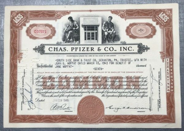 100x Chas. Pfizer & Co. Inc. (<100 Shares) 1940er