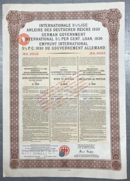 20x Deutsches Reich 1930 - 100 Pfund Sterling - Young Anleihe