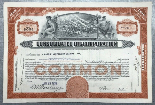100x Consolidated Oil Corporation (<100 Shares) 1930er