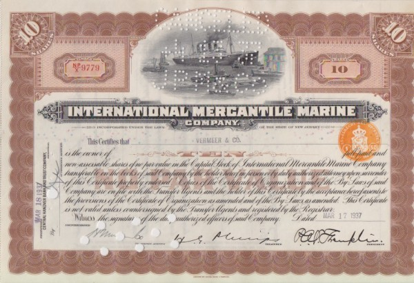 3x International Mercantile Marine Company (Steuerstempel)