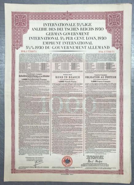 20x Deutsches Reich 1930 - 1000 Francs - Young Anleihe
