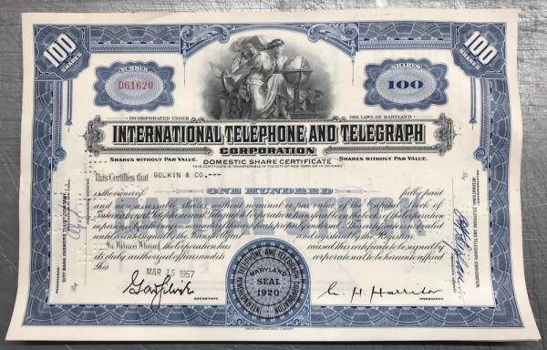 100x International Telephone & Telegraph (100 Shares) 1950er