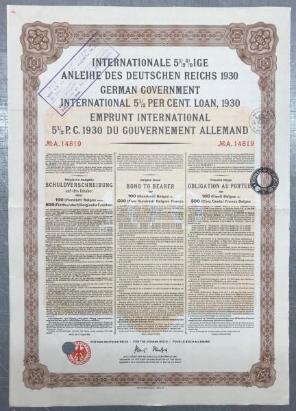 20x Deutsches Reich 1930 - 500 Belgische Franken - Young Anleihe