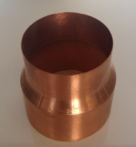 Kupfer Regenrohrmuffe reduziert 87/76 mm