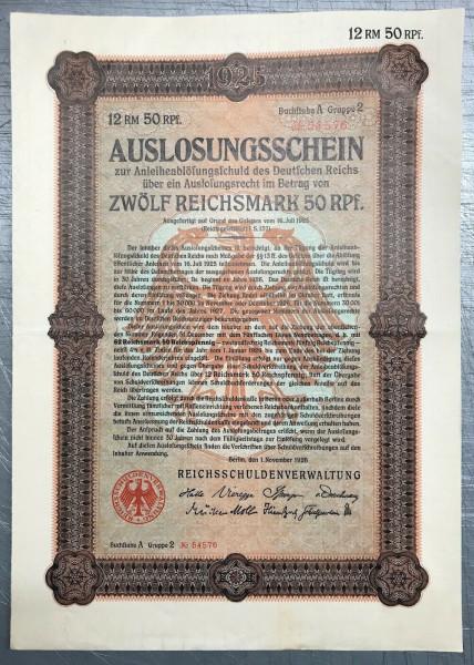 25x Deutsches Reich 1926 - 12,50 Reichsmark - Auslosungsschein