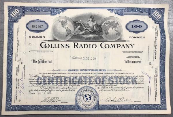 100x Collins Radio Company (100 Shares) 1960er