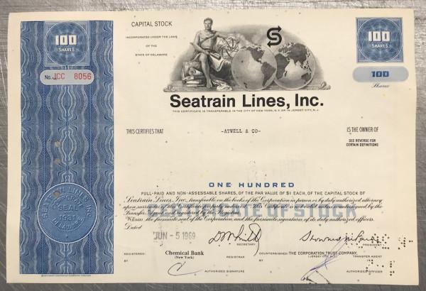 100x Seatrain Lines Inc. (100 Shares) 1960er