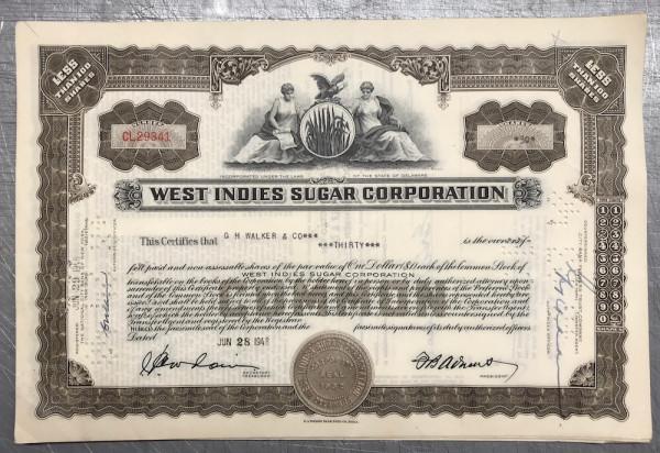 100x West Indies Sugar Corporation (<100 Shares) 1940er