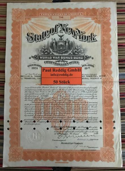 50x World War Bonus Bond $1.000 Issue 1924