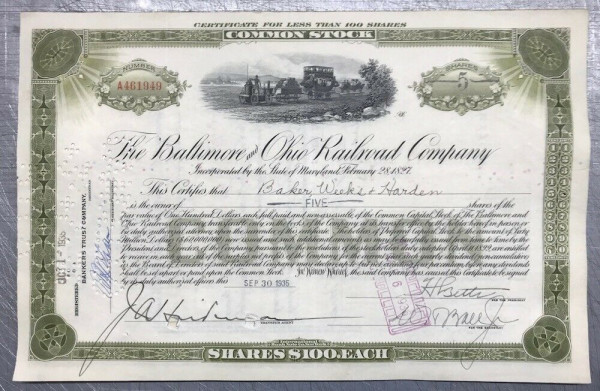 100x Baltimore & Ohio Railroad (<100 Shares) 1930er