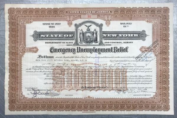 50x Emergency Unemployment Relief $10.000 Issue 1934