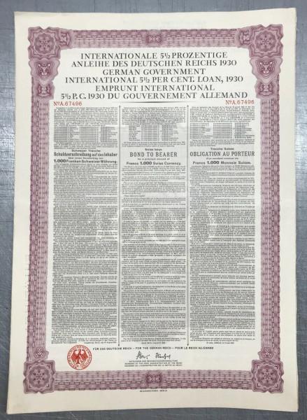 20x Deutsches Reich 1930 - 1000 Franken - Young Anleihe