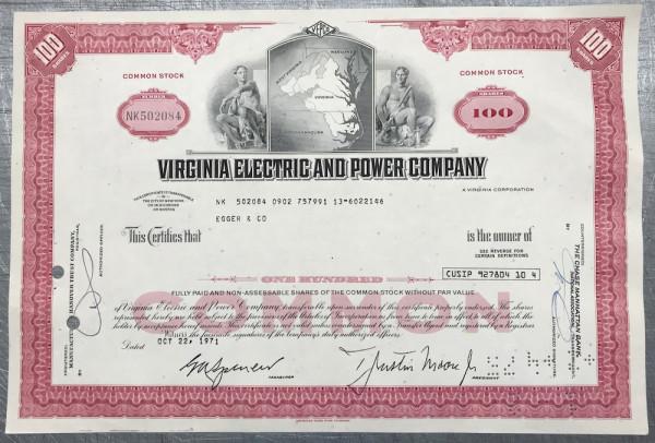 100x Virginia Electric & Power Company (100 Shares) 1970er