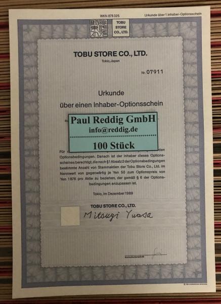 100x Tobu Store Co. Ltd. * 1er * WKN 878325