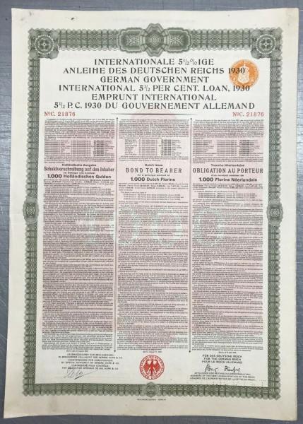 20x Deutsches Reich 1930 - 1000 Gulden - Young Anleihe