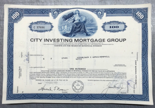 100x City Investing Mortgage Group (100 Shares) 1960er