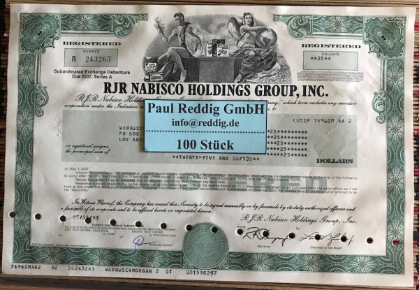 100x RJR Nabisco Holdings Group Inc. (diverse Dollar) 1990er