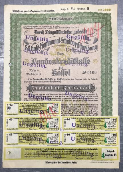 25x Landeskreditkasse Kassel - 2000 Reichsmark - 1930