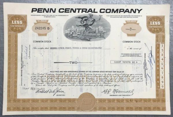 100x Penn Central Company (<100 Shares) 1970er